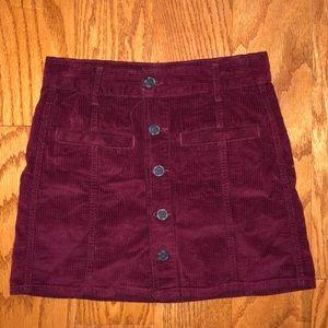 American Eagle maroon corduroy button down skirt